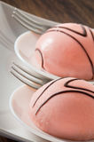 Marzipan cakes. Close up of marzipan cakes in white dish Royalty Free Stock Images