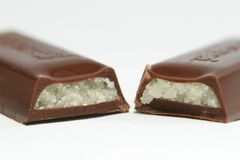 Marzipan Chocolate. On white backlground Stock Photography