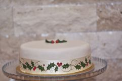 Delicious special Marzipan Christmas Cake stock images