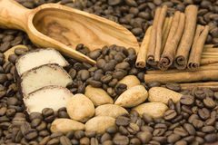 Marzipan, coffee, cinnamon and almonds Stock Images