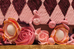 Marzipan decoration on wedding cake Stock Image