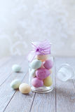 Marzipan Easter Eggs in a Jar Royalty Free Stock Photography