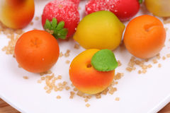 Marzipan fruit shapes. Close-up Royalty Free Stock Images