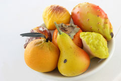 Marzipan fruits. Exposure of sweet almond paste - Sicilian food Stock Photos