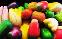 Marzipan fruits. Colorful variety of marzipan fruits. Close up Royalty Free Stock Photography