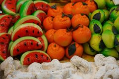 Marzipan fruits for sale in bakery Stock Images