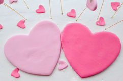 Marzipan hearts Stock Images