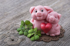 Marzipan pig. On wooden background Royalty Free Stock Images