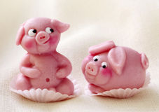 Marzipan pigs Stock Photography