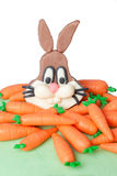 Marzipan rabbit and carrot Royalty Free Stock Photography
