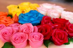 Marzipan roses. Detail of colored marzipan roses Stock Photography