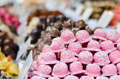 Marzipan stall on Christmas traditional food market in Budapest royalty free stock image