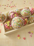 Marzipan sweets in wooden box Royalty Free Stock Photos