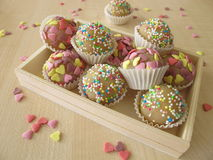 Marzipan sweets in wooden box Royalty Free Stock Image