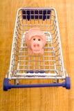 Marzipanschwein im Einkaufswagen Stockfotos