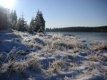 Marznięcie ranek przy halnym jeziorem Fotografia Royalty Free
