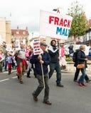 Marzo anti--Fracking - Malton - Ryedale - Yortkshire del nord - il Regno Unito Immagine Stock