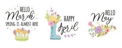 Marzo, aprile, può La molla di tipografia di vettore cita i fiori svegli disegnati a mano della molla decorati parole sveglie immagine stock