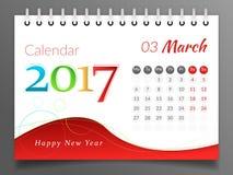 Marzo 2017 Calendario 2017 Immagine Stock Libera da Diritti