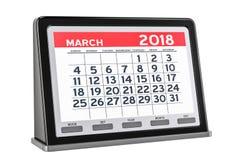 Marzo 2018 calendario digitale, rappresentazione 3D Fotografia Stock