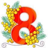 8 marzo cartolina d'auguri con la mimosa Fotografie Stock Libere da Diritti