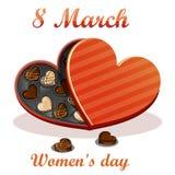 8 marzo Cartolina d'auguri del giorno delle donne Fondo di celebrazione con il cioccolato del contenitore di regalo Fotografie Stock Libere da Diritti