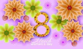 8 marzo Cartolina d'auguri floreale royalty illustrazione gratis