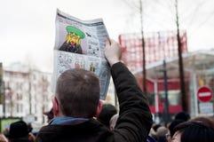 Marzo contra ataque del terrorismo de la revista de Charlie Hebdo, el 7 de enero de 2015 en París Imagen de archivo libre de regalías