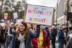 Marzo contra políticas del triunfo Fotografía de archivo