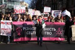 Marzo de la solidaridad del ` s de las mujeres Fotografía de archivo
