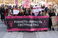 Marzo de la solidaridad del ` s de las mujeres Fotos de archivo libres de regalías