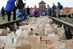 Marzo de la vida en campo de concentración alemán en Auschwitz Fotografía de archivo libre de regalías