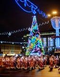 Marzo de Santa Claus Bielorrusia 2018 Minsk imagenes de archivo