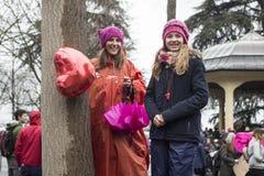 Marzo del giorno delle donne a Zurigo Fotografia Stock Libera da Diritti