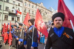 Marzo del regimiento inmortal, sincronizado al 71.o aniversario de la victoria en la gran guerra patriótica Imagen de archivo