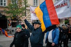 Marzo dell'anniversario armeno della Comunità del genocidio armeno fotografie stock libere da diritti