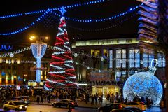 Marzo di Santa Claus Bielorussia 2018 Minsk fotografie stock libere da diritti