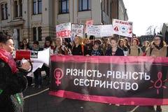 Marzo di solidarietà del ` s delle donne Fotografie Stock Libere da Diritti