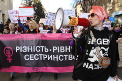 Marzo di solidarietà del ` s delle donne Fotografie Stock