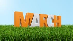 Marzo en la hierba (trayectoria de recortes incluida) Fotografía de archivo