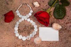 8 marzo, fiore della rosa rossa e coperture Fotografia Stock