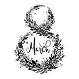 8 marzo - giorno del ` s della donna Fondo, distintivo di celebrazione, etichetta, icona Invito della carta di testo, modello Ill Immagine Stock