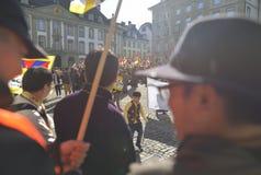 10 marzo giorno 2017 della rivolta nel Tibet, Berna switzerland Fotografie Stock