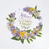 8 marzo Giorno felice dei women's! Carta con la struttura floreale Fotografia Stock Libera da Diritti
