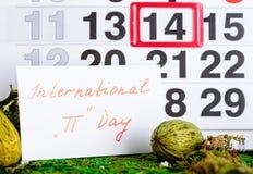 14 marzo, giorno internazionale del pi sul calendario Fotografia Stock Libera da Diritti
