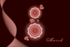 8 marzo giorno internazionale del ` s delle donne Illustrazione della cartolina con l'iscrizione otto sotto forma di un fiore illustrazione di stock