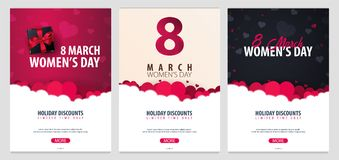 8 marzo giorno internazionale del ` s delle donne Insieme delle cartoline d'auguri con i heards Illustrazione di vettore Fotografie Stock