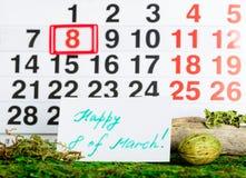 8 marzo giorno internazionale del ` s delle donne sul calendario Fotografia Stock Libera da Diritti