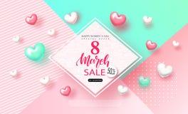 8 marzo insegna di vendita del giorno delle donne felici Bella priorità bassa con i cuori Vector l'illustrazione per il sito Web, illustrazione di stock