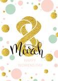 8 marzo lo scintillio dell'oro per la cartolina d'auguri del giorno delle donne ed il lusso mandano un sms all'iscrizione Iscrizi Immagine Stock Libera da Diritti